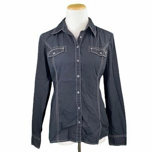 Tommy Hilfiger Black Long Sleeve Button Down Shirt